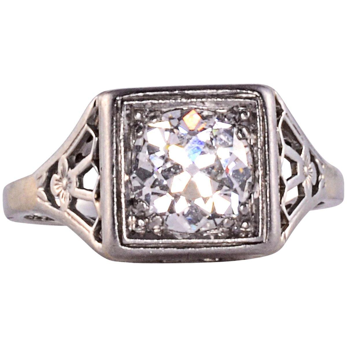Antique Edwardian platinum and European-cut diamond ring, 1.25 carats, circa 1900, $5,950.