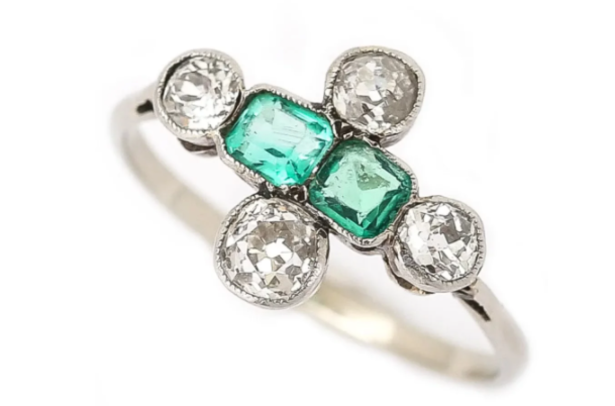 Some engagement rings feature gemstones, in addition to diamonds. An Art Deco platinum, diamond and emerald six-stone engagement ring, circa 1920, $1,790.