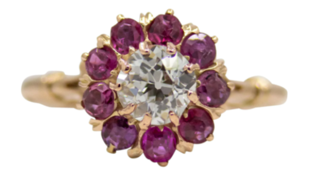Victorian old mine-cut diamond and ruby engagement ring in 14-carat yellow gold, $2,316.