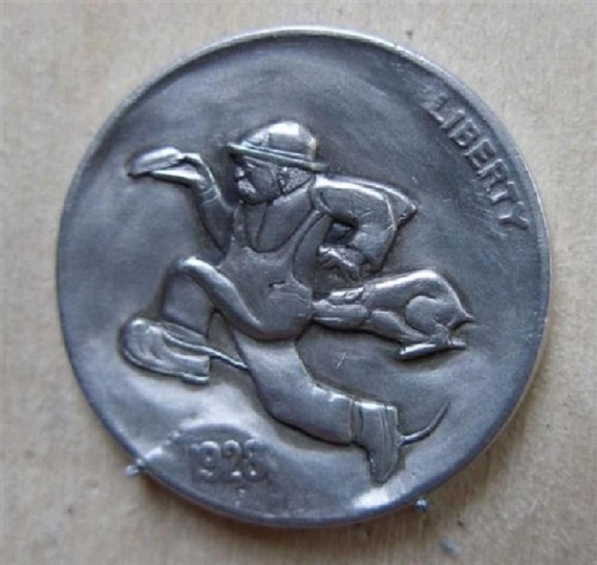 Bob Shamey carved hobo nickel