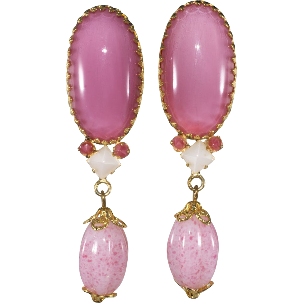 Schreiner drop earrings with large oval stones.