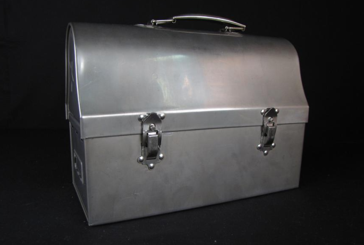 Metal dome lunch box, 1940s.