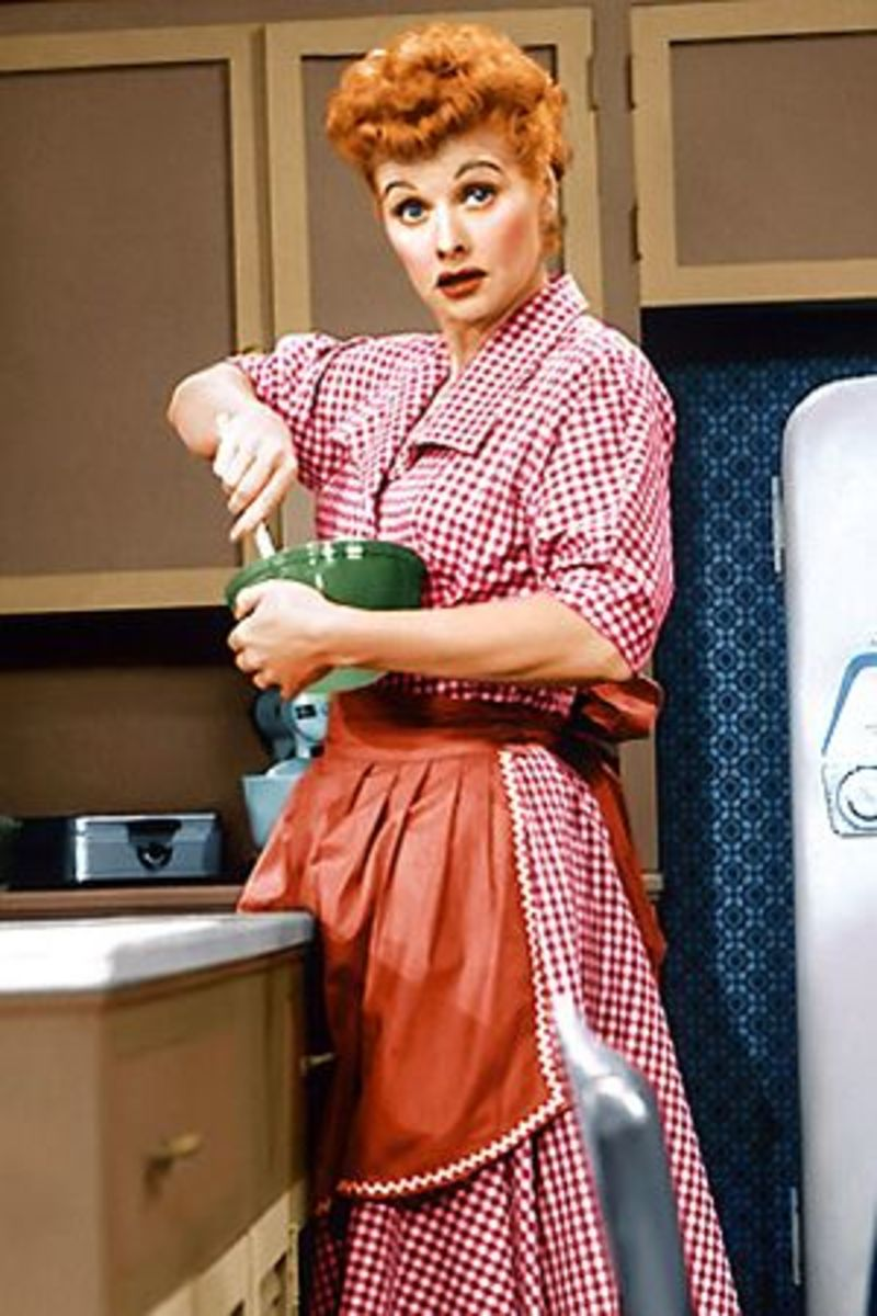 Lucille Ball in her gingham house dress.