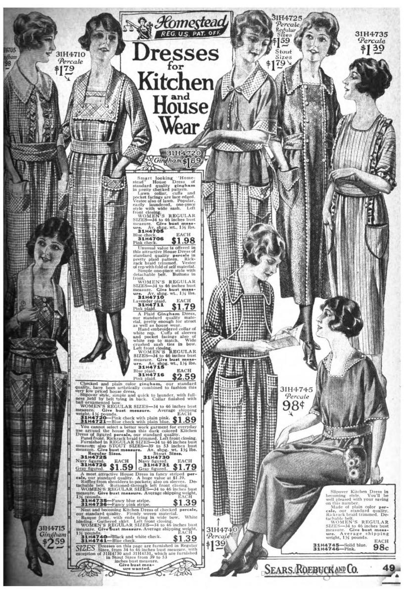 Some house dresses advertised in the Sears Roebuck and Co. Catalog, 1922.