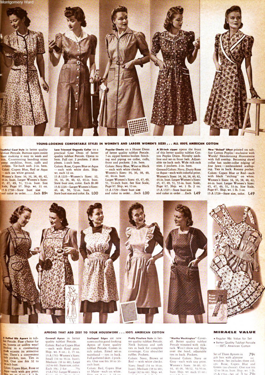 House dresses and aprons advertised in the Montgomery Ward Fall & Winter catalog, 1941-42.