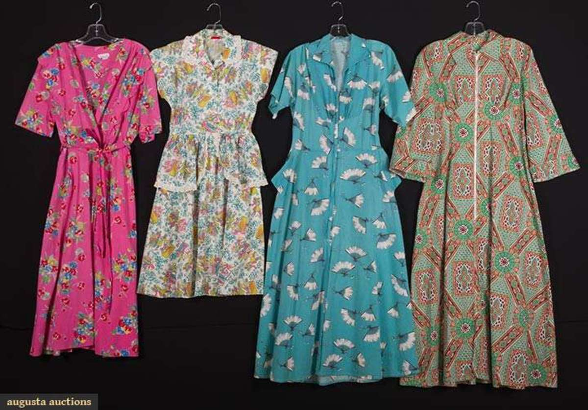 Lot of four house dresses with novelty prints, 1940s; $180.