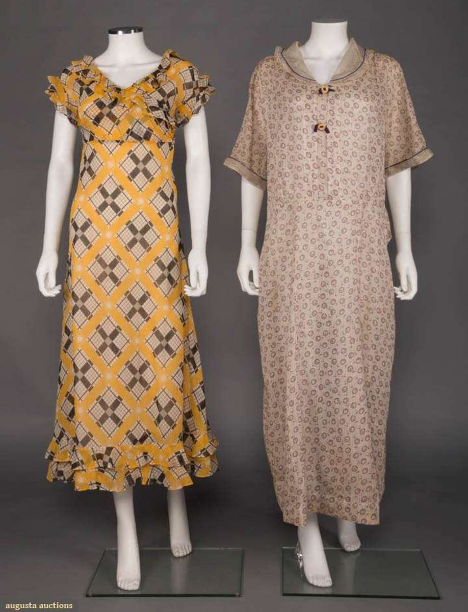 Two cotton houses dresses, 1930s: a yellow with black and white geometric print and double-ruffle sleeves, circa 1933, and the other with printed floral squares on a purple dot pattern with two spaghetti twisted buttons, circa 1935; $150.