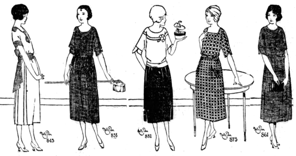 Five house dresses made by Nelly Don, 1922.