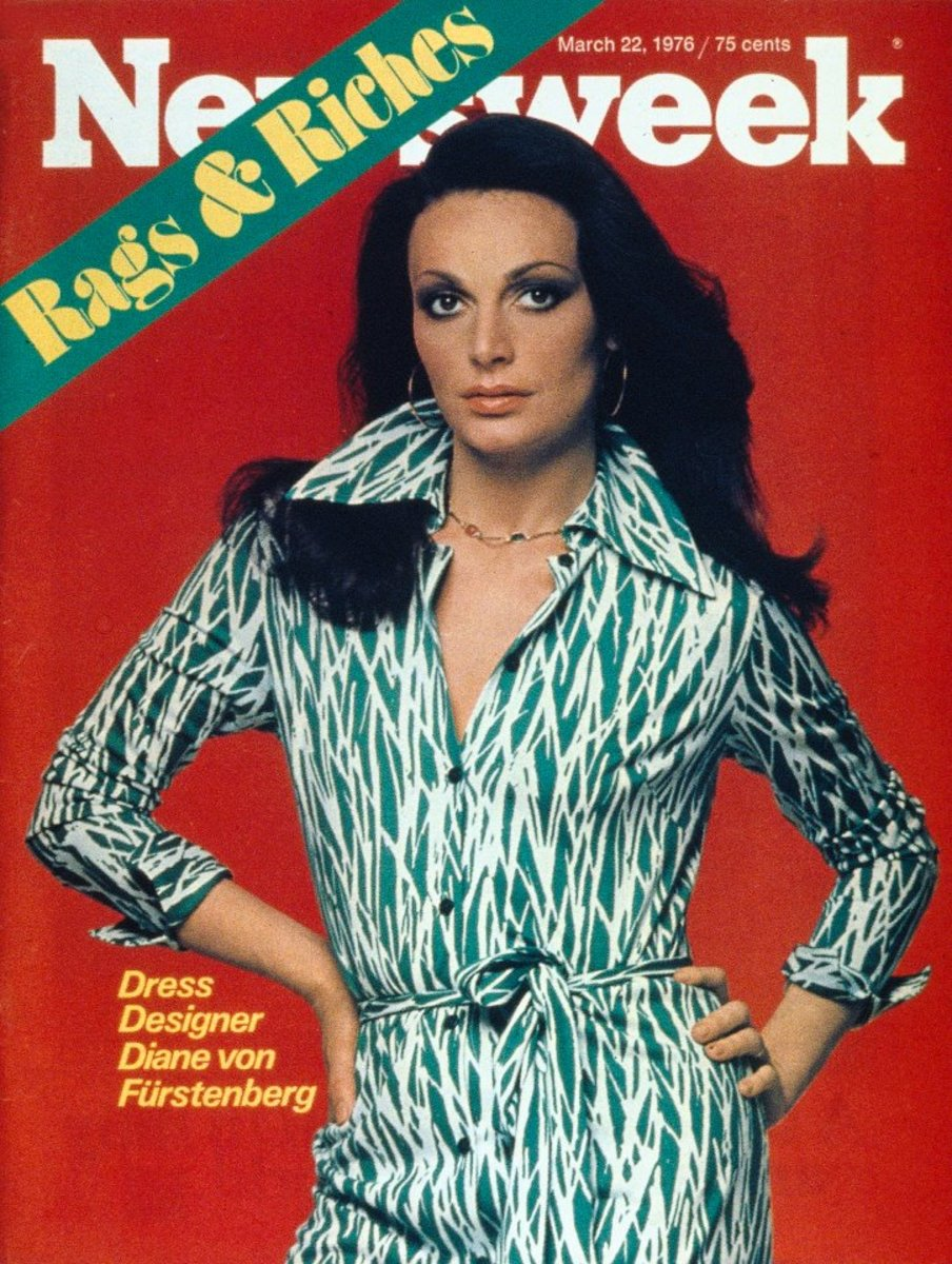 Diane von Furstenberg, in her iconic wrap dress, made the March 1976 cover of Time magazine for her design.