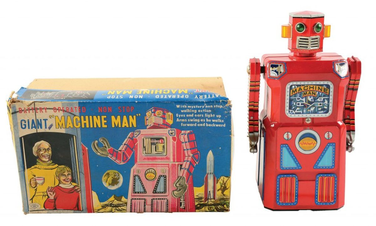 Masudaya Machine Man robot with original box, 1960, set a record when it sold at Morphy Auctions for $159,900.