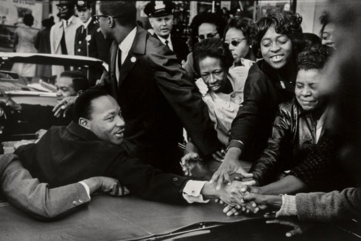 """Dr. Martin Luther King, Jr's Motorcade, Baltimore, Maryland, October 31,"" 1964. King, who had recently been announced as a recipient of the Nobel Peace Prize, arrived in Baltimore for a get-out-the-vote drive three days before the Nov. 3, 1964, presidential election. His motorcade drove between the Faith Baptist Church and the Masonic Temple on North Eutaw Street where he gave speeches that day. Estimate: $2,500-$3,500."