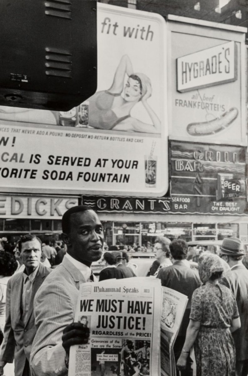 """Black Muslim Selling the Sect's Newspaper, New York City,"" 1963. Estimate: $1,500-$2,500."