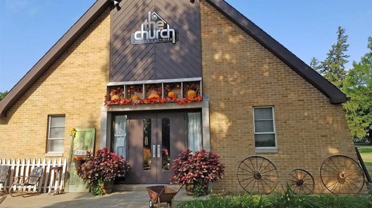 A converted Catholic church in Alvord, Iowa, is now The Church antiques and vintage shop.