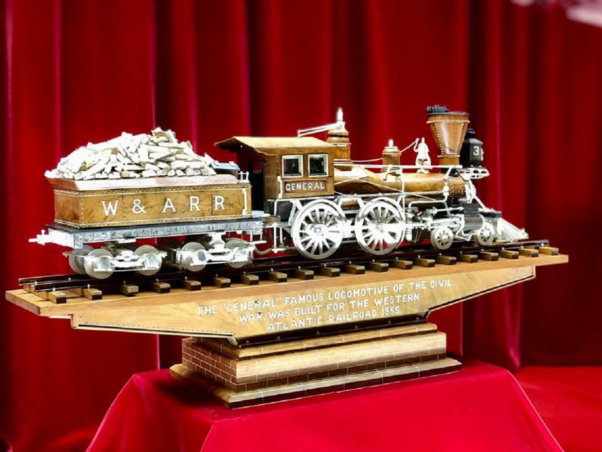 "Warther's carving of the ""General,"" a famous locomotive of the Civil War built for the Western Atlantic Railroad in 1855."