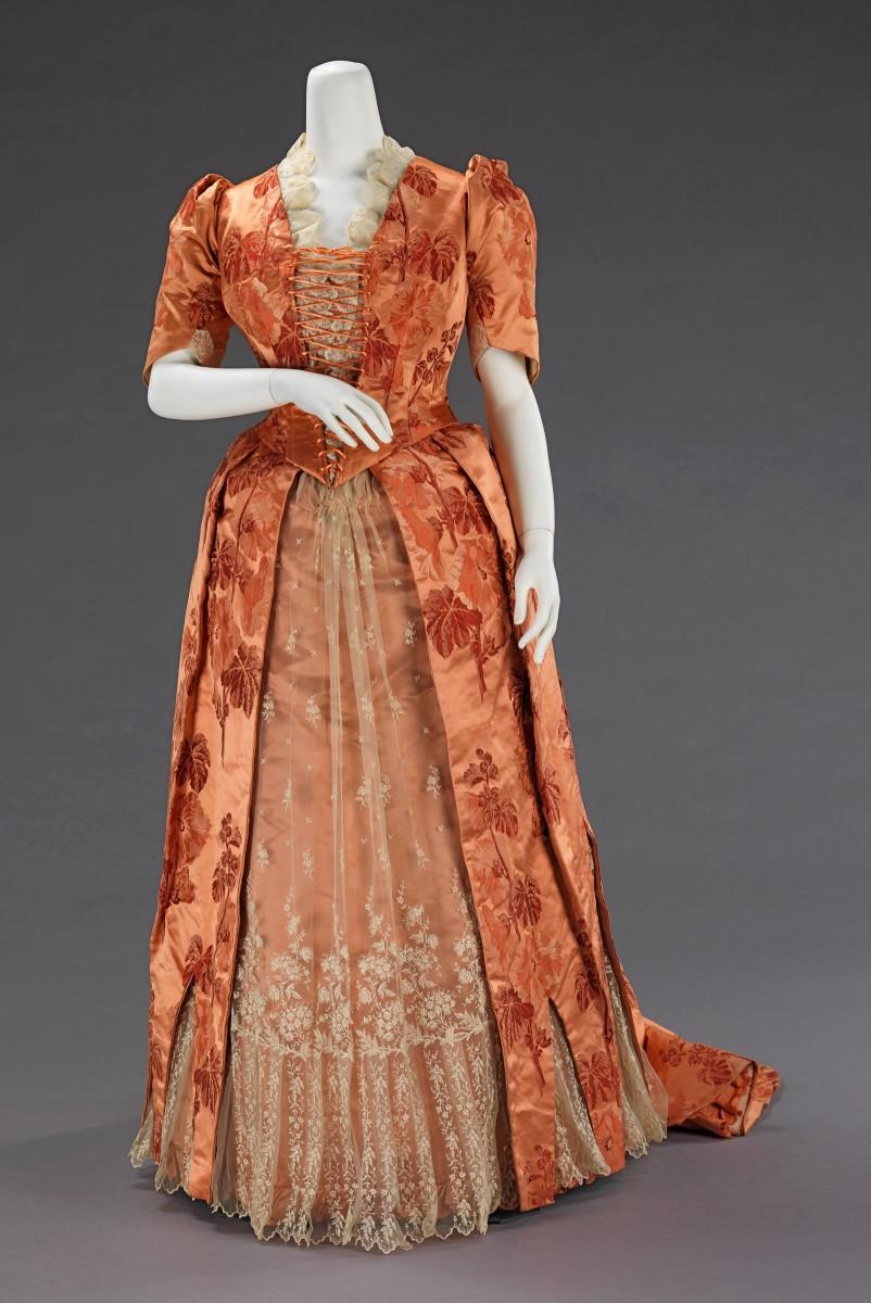 Silk dinner dress, American, circa 1886.