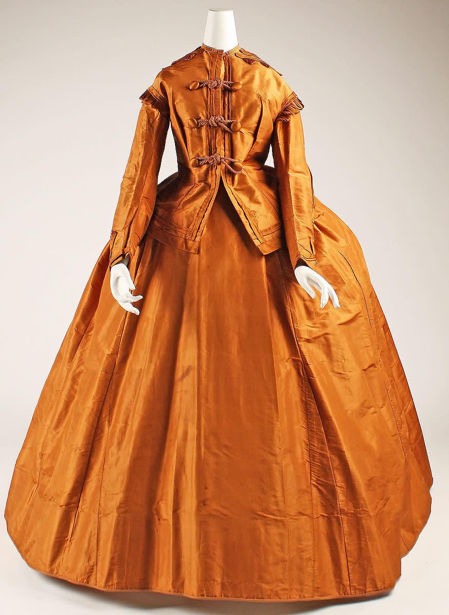 Silk visiting dress, 1865-75, American.