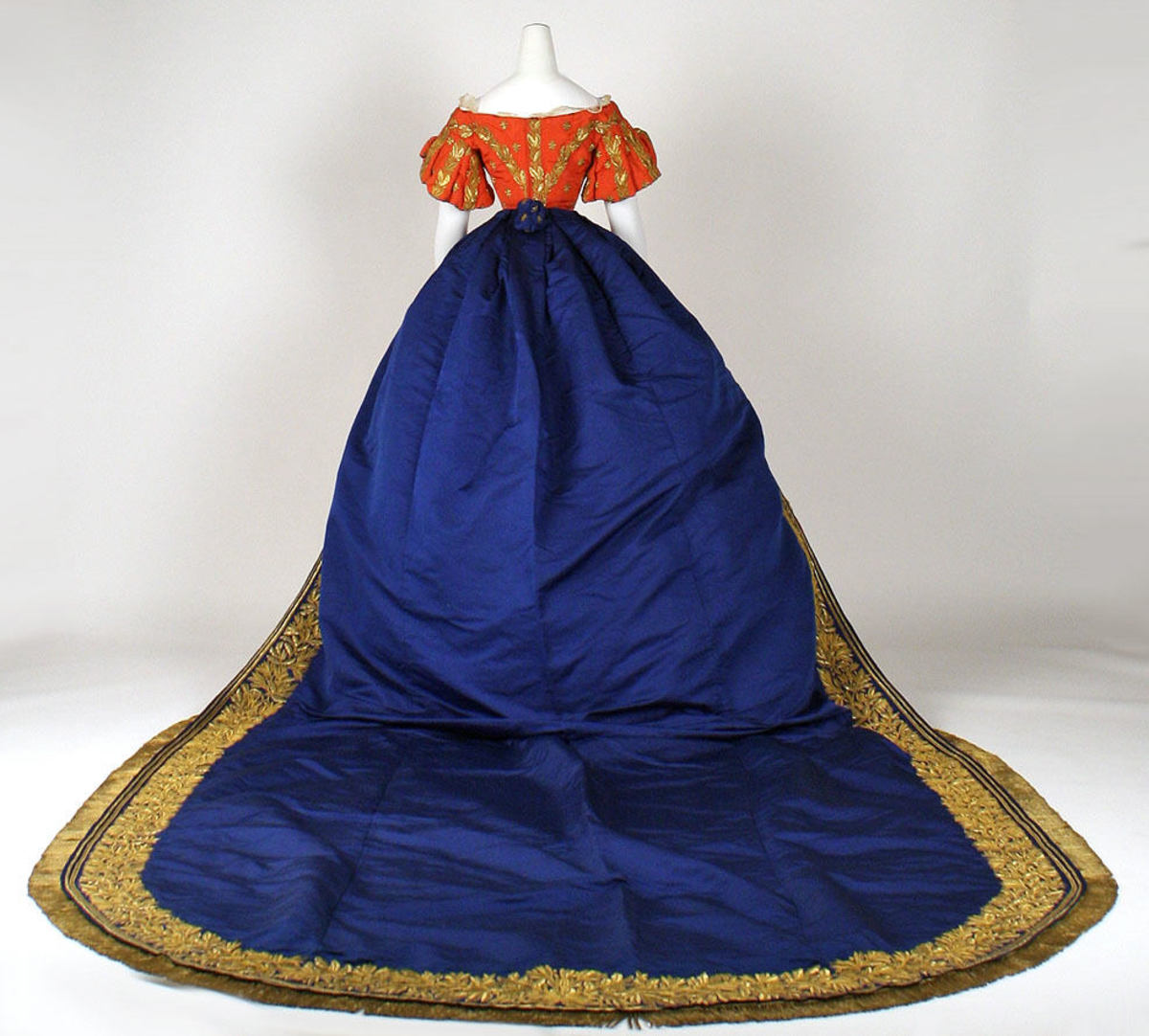 The train of the court dress.