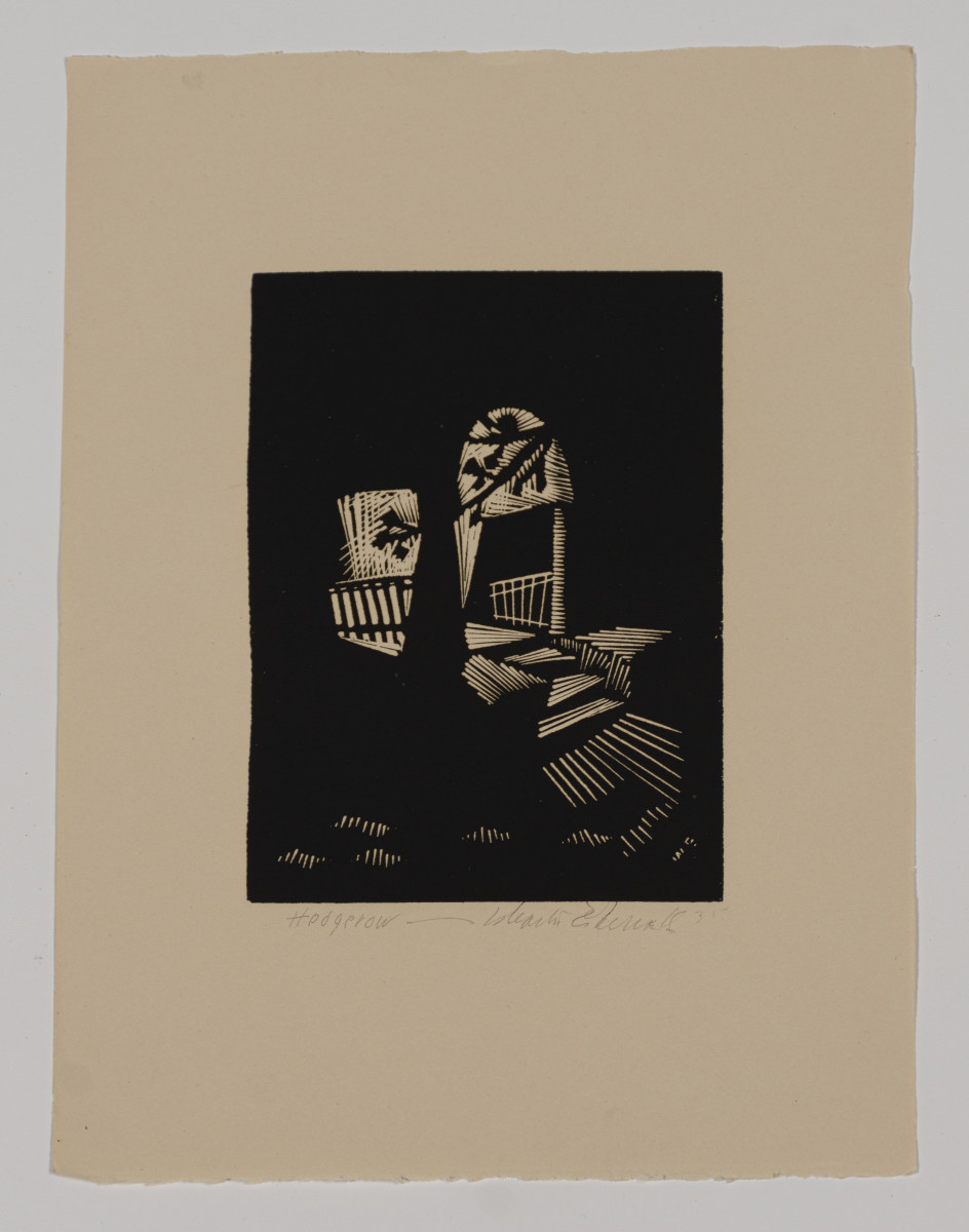 A Wharton Esherick woodcut of Hedgerow Theatre is among the items to be auctioned.