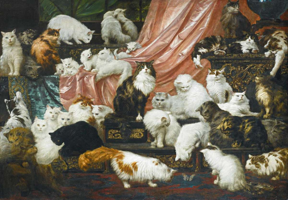 """The world's greatest painting of cats"": Carl Kahler's ""My Wife's Lovers,"" 1891, which sold at Sotheby's for $826,000 in 2015."