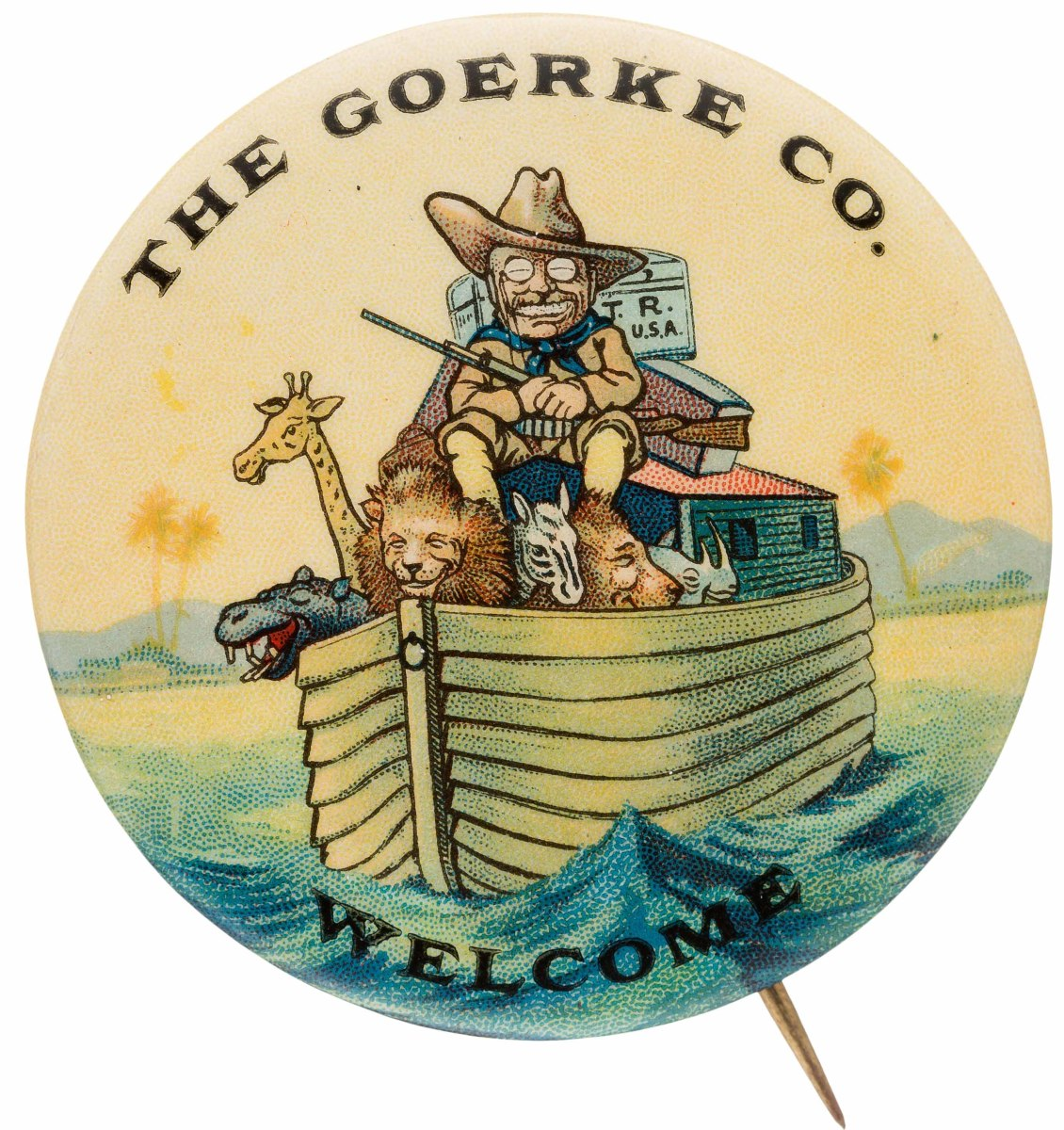 Teddy Roosevelt 1910 button commemorating his return from safari in Africa. Put out by the Goerke Co.,this rare item is considered one of the top Roosevelt pin-backs. Value: $9,000.