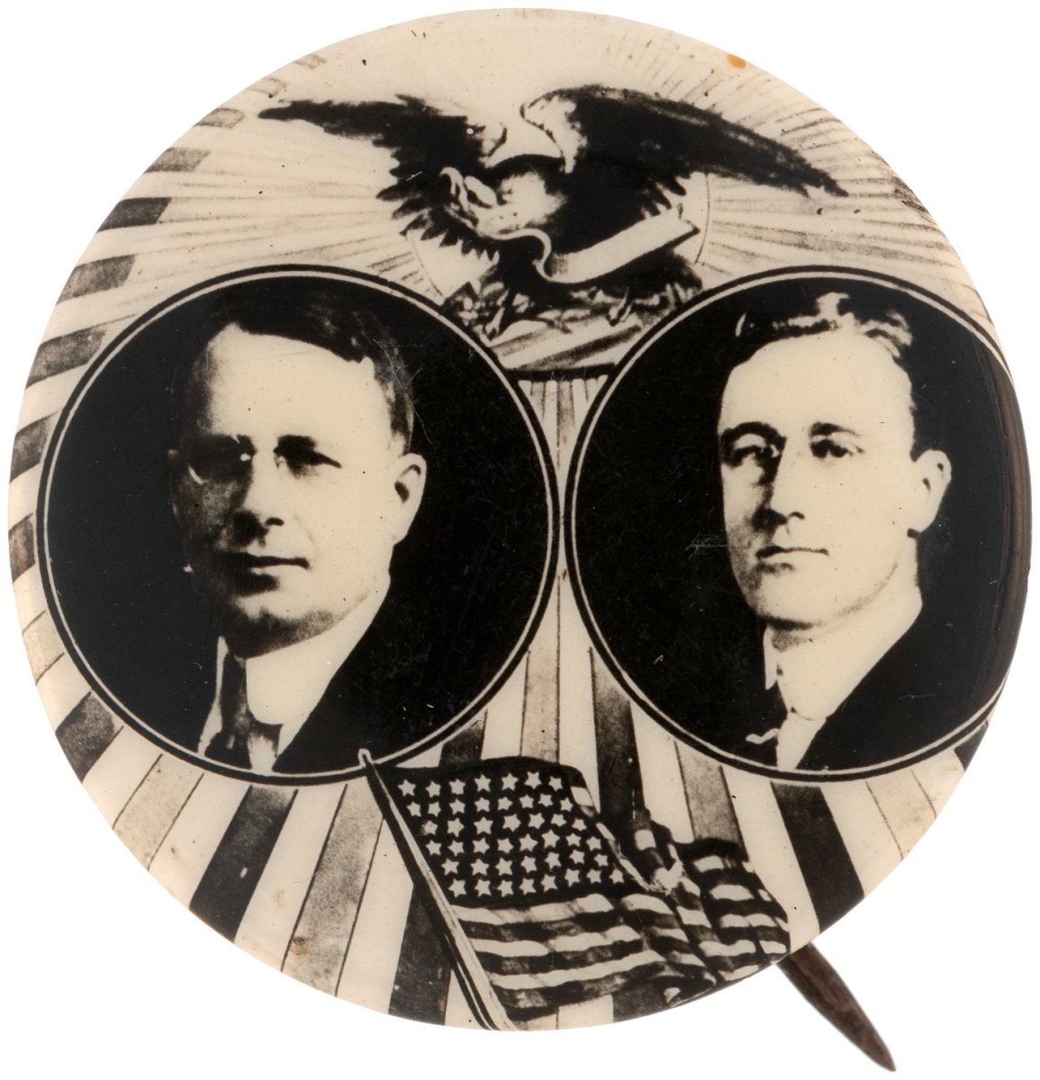 James M. Cox and Franklin D. Roosevelt jugate button.