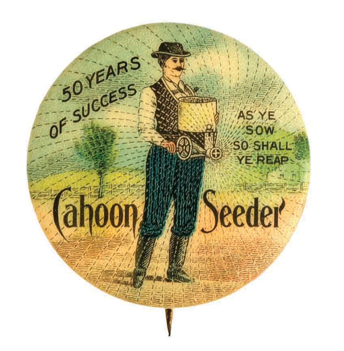 Cahoon's Seed Sower pin-back button, 1861.