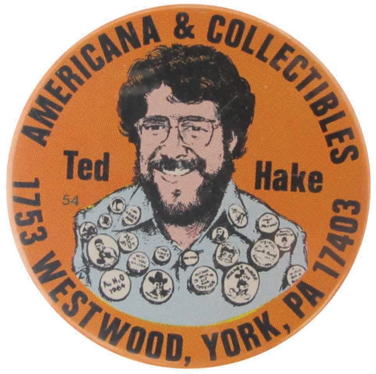 Ted Hake's Americana & Collectibles button, 1975