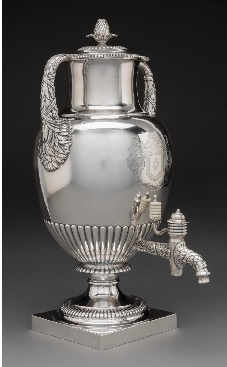 Silver tea urn