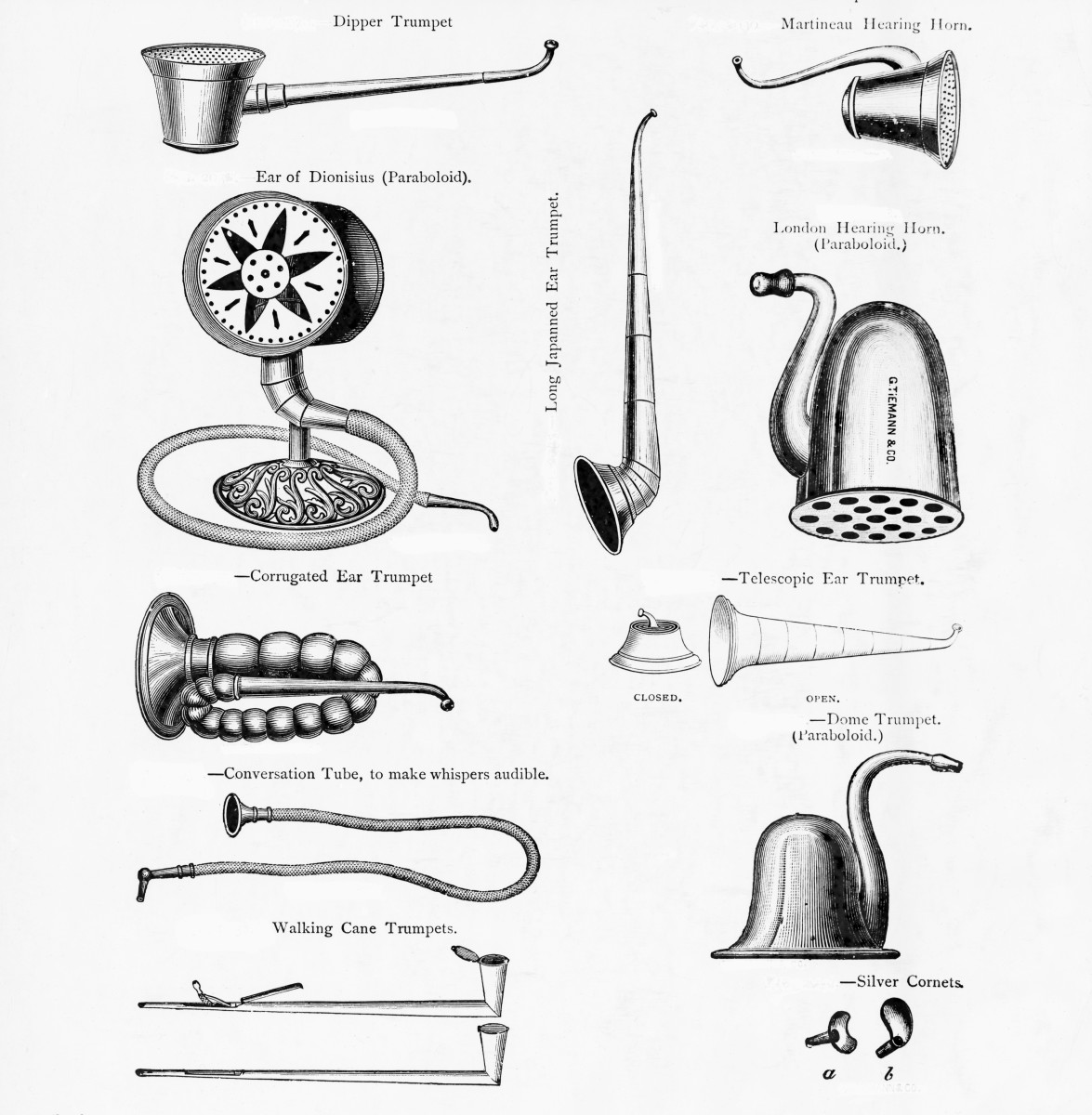 Diagrams of various ear trumpets in this undated illustration, BPA2# 1187.