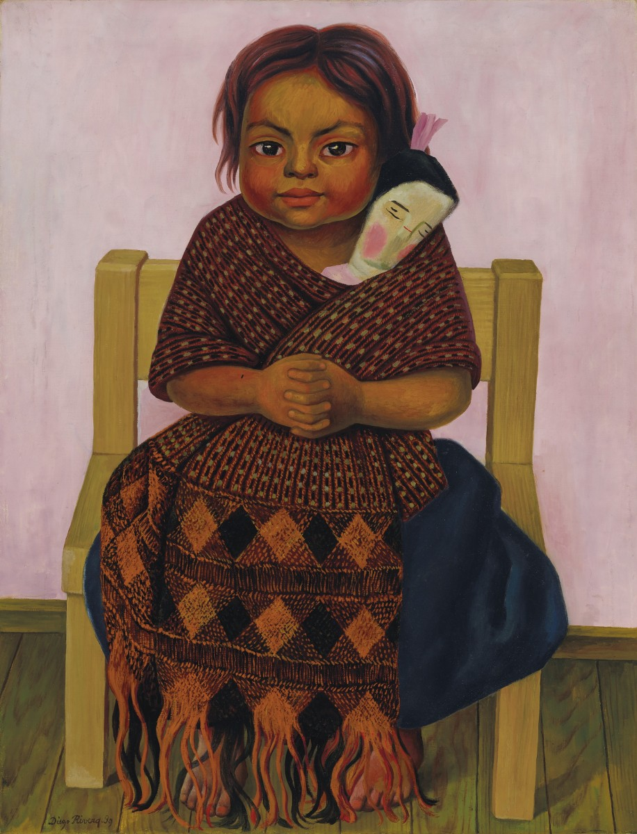 In Niña con muñeca de trapo, 1939, a girl sits on a humble chair, holding a shawl-wrapped doll with all the affection that a mother might embrace her baby. Sold at Christie's in 2019 for $795,000.