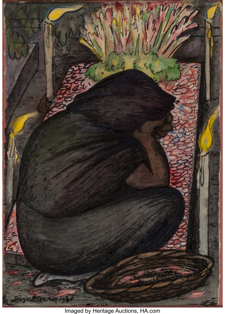 """Velorio, 1928, watercolor on rice paper of a woman in mourning, 15-1/4"""" x 11"""", $40,000."""