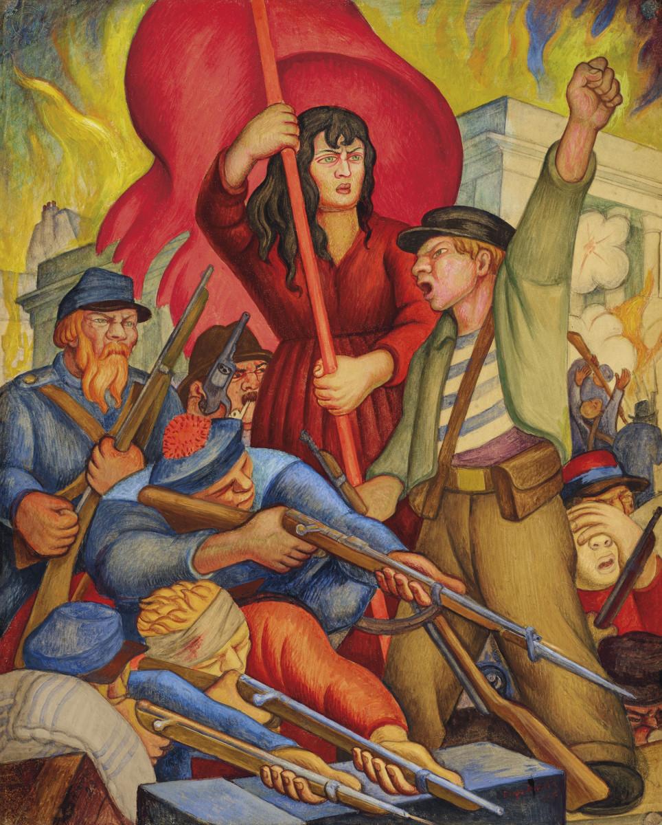 """Communards (Comuna de Paris), 1928,  19-3/8"""" x 15-1/2"""", $492,500."""