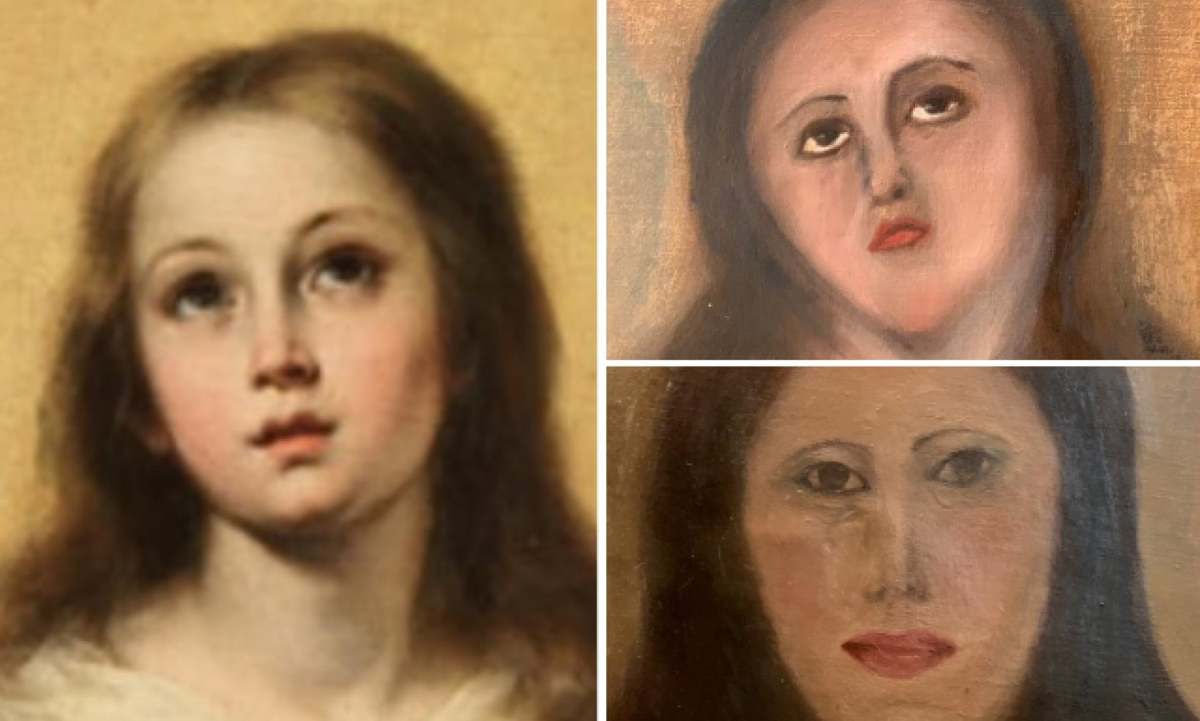 Bartolomé Esteban Murillo's original work of the Virgin Mary, left, and two attempts at restoring a copy of it.