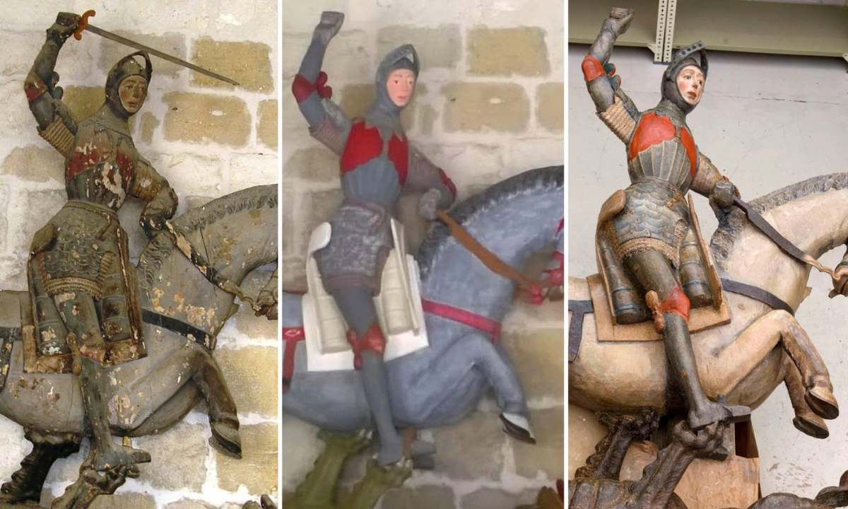 Composite image of the sculpture of Saint George at the church of Estella before and after its botched 2018 restoration and after its improved restoration.