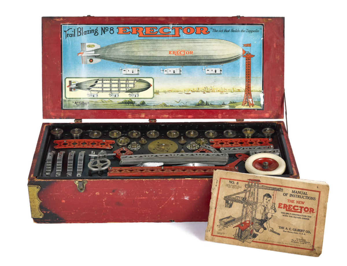 """A trail blazing No. 8 Erector: """"The set that builds the Zeppelin."""""""