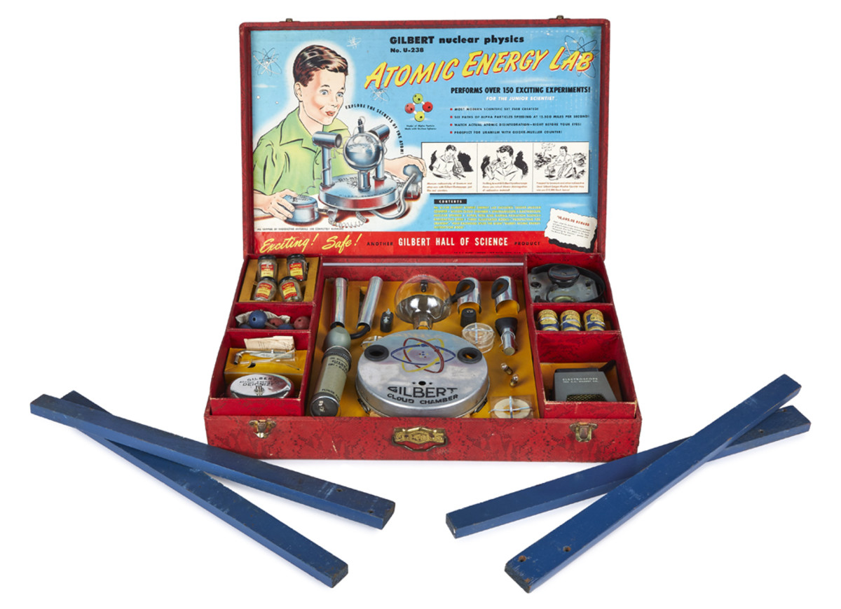 """Those mad for science can bid on this Atomic Energy Lab by Gilbert Hall of Science that promises to be """"Exciting! Safe!"""""""