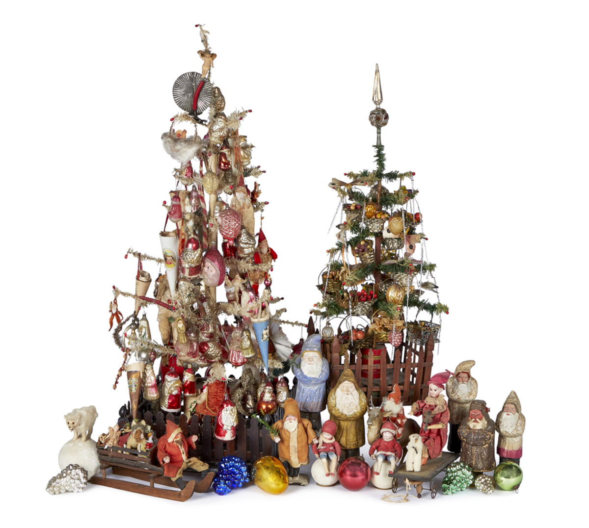 Decorated feather trees, Dresden Santas and ornaments are among the auction highlights.