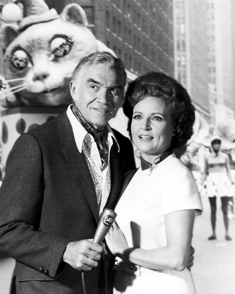 Bonanza star Lorne Greene (1915-1987) and the incomparable Betty White are photobombed by a giant float as they pose for a publicity still at the parade in 1969. The pair presented the telecast of the event for NBC television and hosted the parade every year from 1962 to 1971.