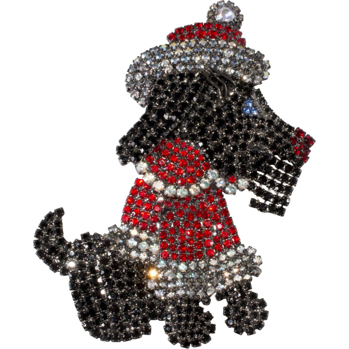 Santa dog brooch