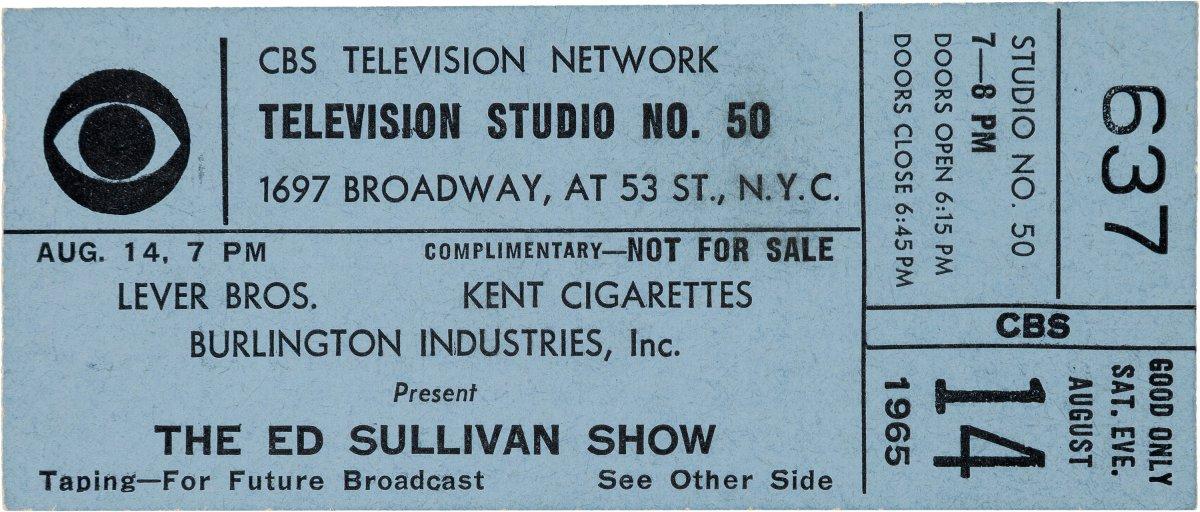Beatles Ed Sullivan Show ticket