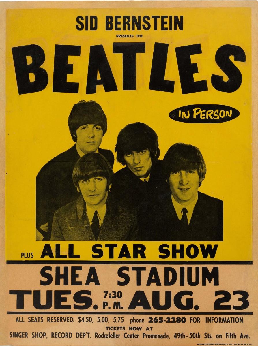 The Beatles 1966 Shea Stadium (New York) concert poster