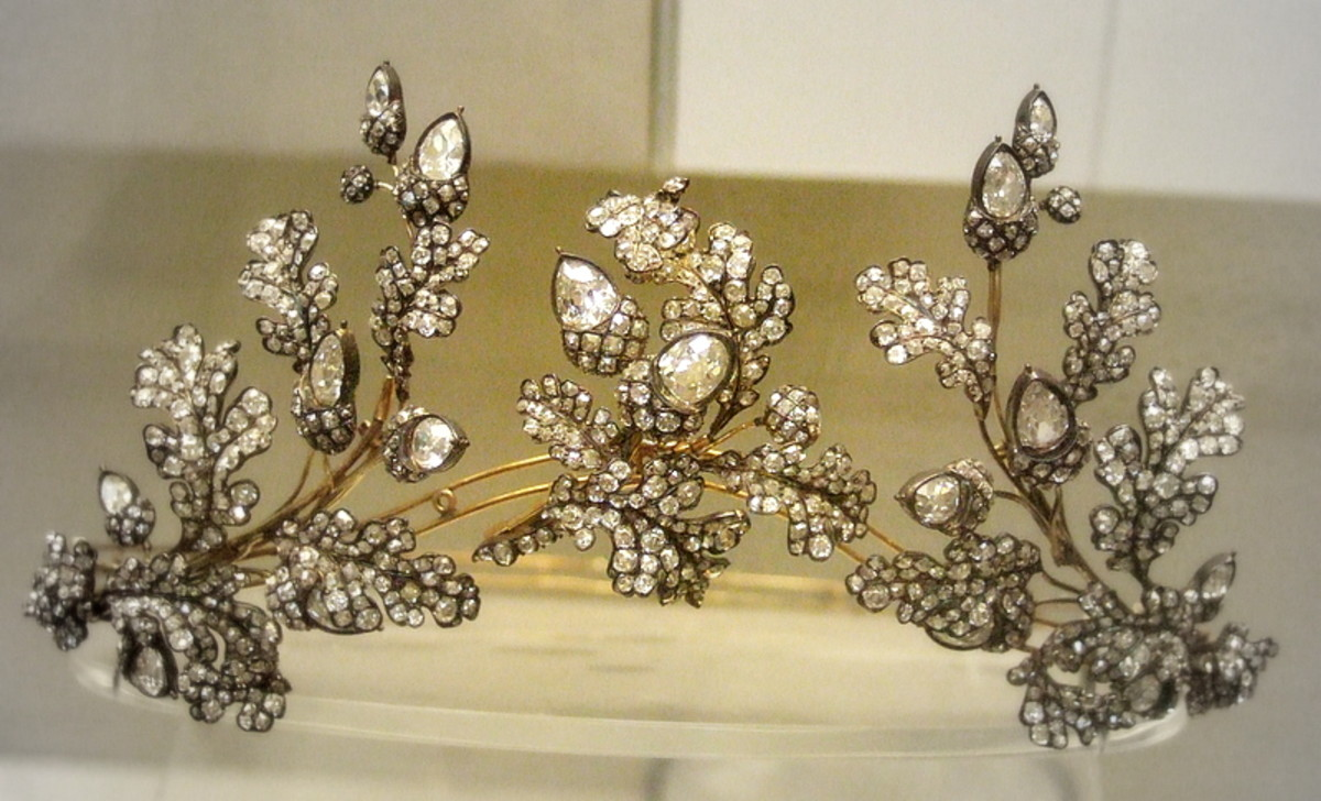 Silver and gold tiara of oak leaves and acorns set with diamonds, circa 1855, and can also be convertible to a brooch and comb mounts; Hunt & Roskell.