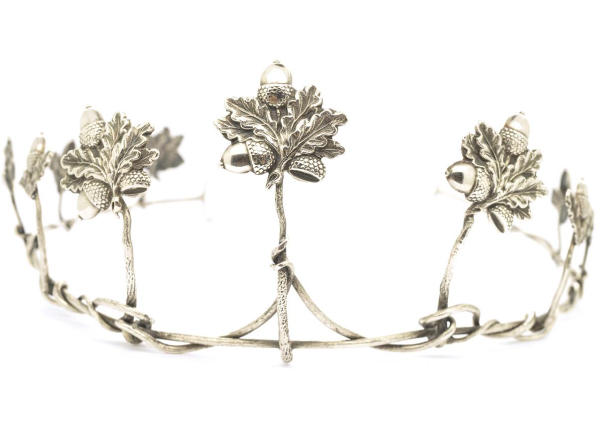 An unusual Victorian silver tiara with acorn and oak-leaf design, circa 1880.
