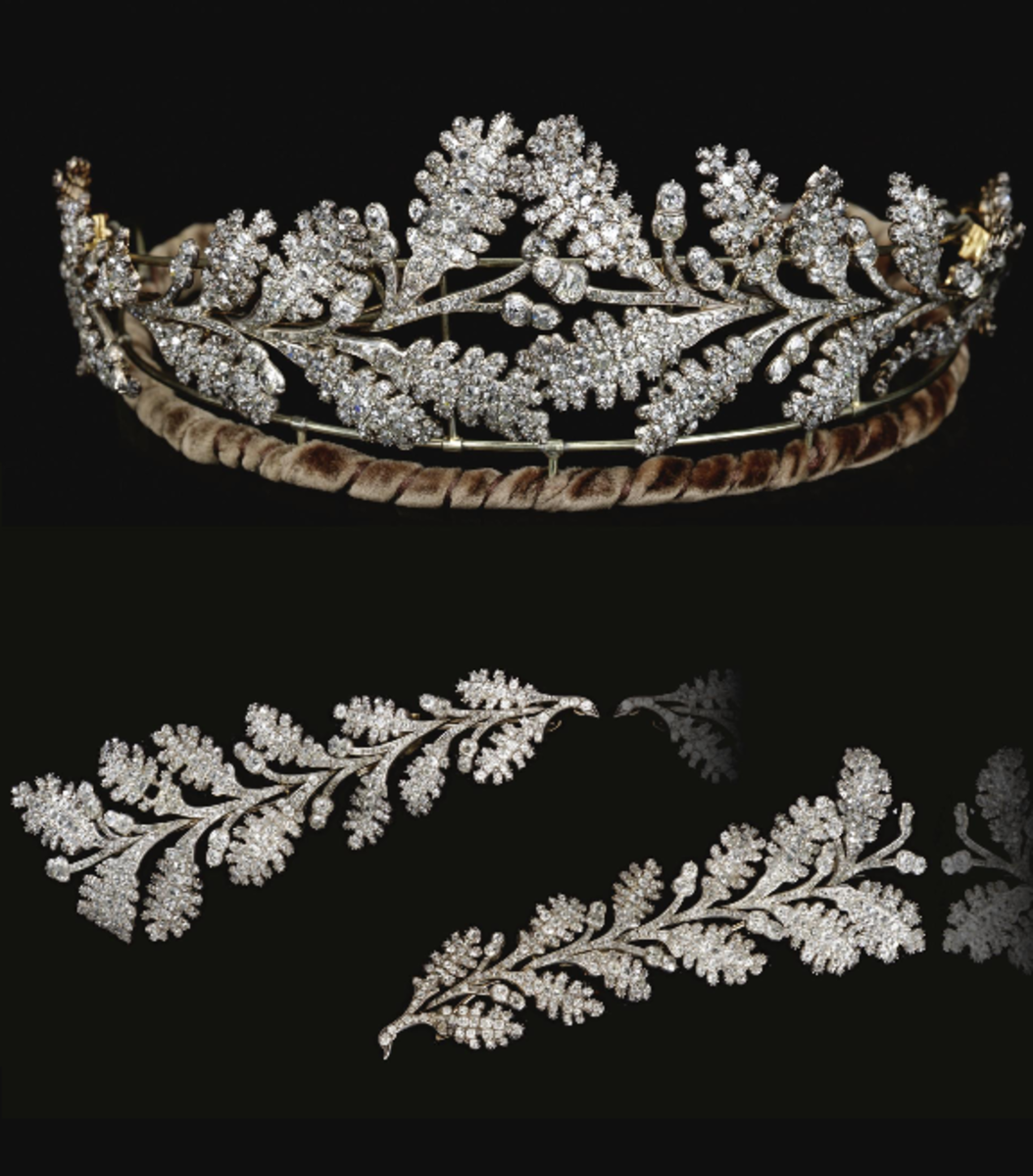 Diamond tiara, early 19th century, designed as two confronting sprays of oak leaves tapering from the center and set throughout with old-mine diamonds; may also be worn as four brooches. Carrington & Co. Jewelers, London; $160,212.