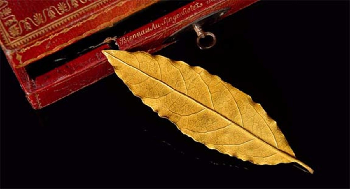 This golden laurel leaf trimmed from the coronation crown of Napoleon in 1804 and weighing 10 grams (.35 ounces) sold for $730,000 at an auction in 2017 in Paris.