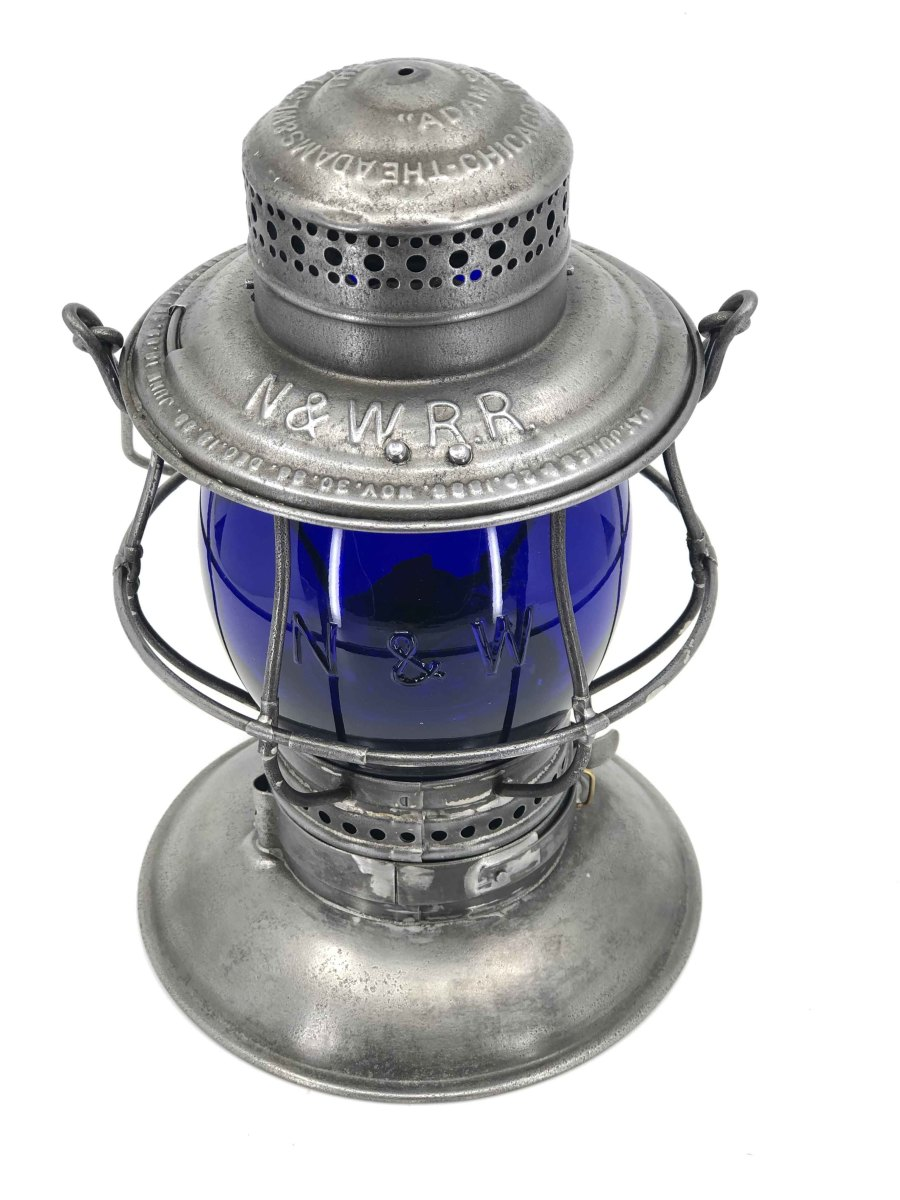 Cobalt blue railroad lantern