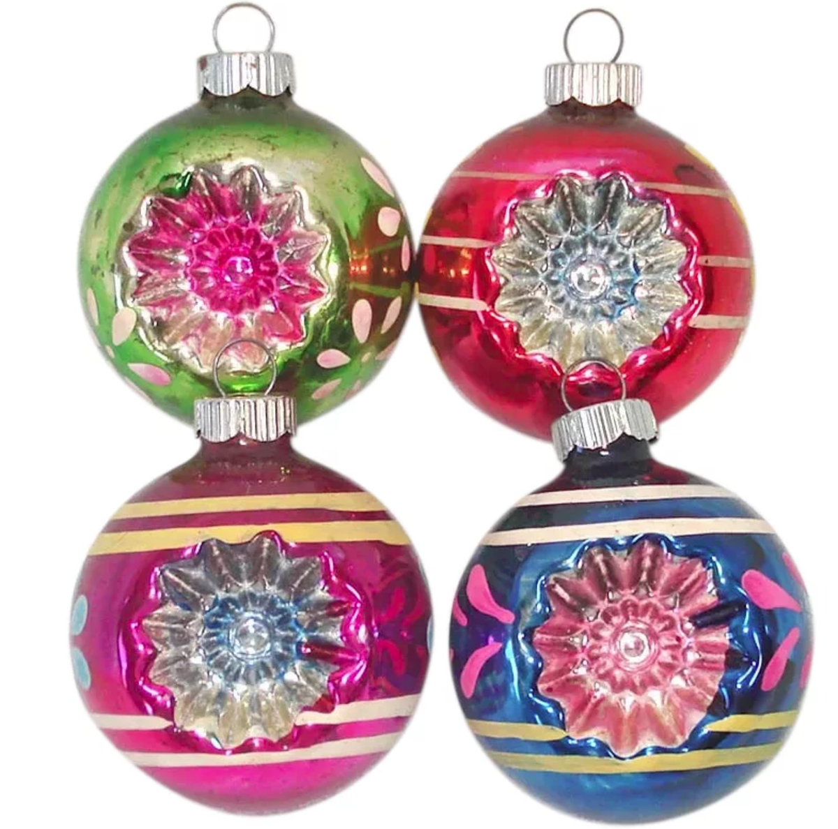 "A set of four brightly colored Shiny Brite double star flower indent glass ornaments, late 1940s to early 1950s, 2-1/4"" h; $40."