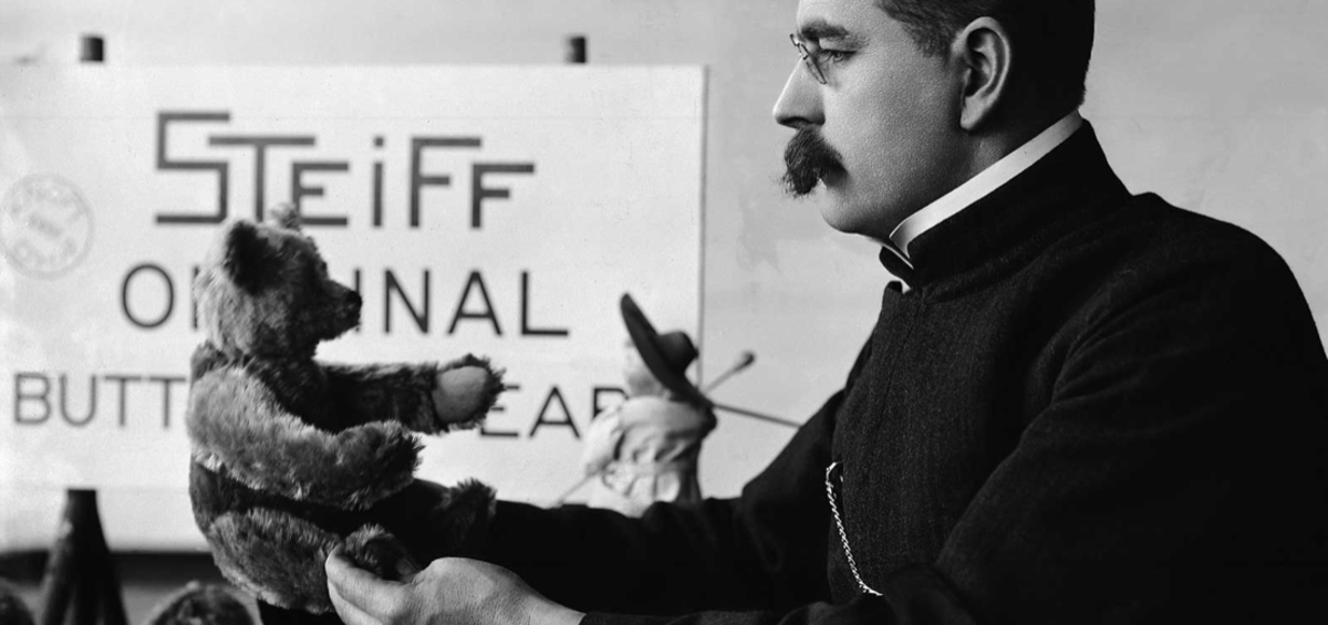 Margarete Steiff's nephew, Richard Steiff, exhibits the first commercially produced teddy bear in Europe in 1903.