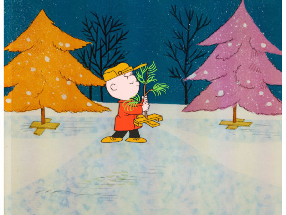 A Charlie Brown Christmas production cel (Bill Melendez, 1965) of Charlie picking a scrawny real tree instead of a shiny aluminum one. Many point to this moment as the start of the decline in popularity of aluminum trees. This cel sold at auction for $21,510.
