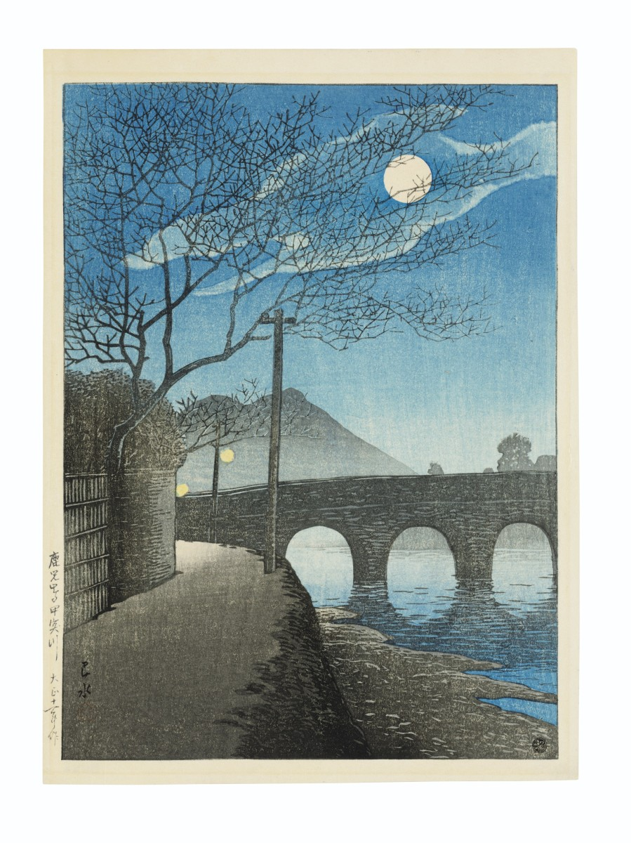 Shin hanga woodblock print by Kawase Hasui (1883-1957), Kagoshima Kotsukigawa (Kotsuki River in Kagoshima), from the series Nihon fukei senshu (Selected views of Japan), 1922; $6,250.